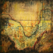 """Lisa Bick, (IN), """"Anemone September Charm"""",18 x 18 in., Encaustic Mixed media on Panel"""