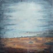 "Bridgette Meinhold, (UT), ""Pigeon Point Fog"", 16 x 16 in., Encaustic, milk paint"