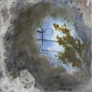 "Louise Noel, (CANADA), ""Eclaircie (Patch of Blue)"", 14 x 14 in., Encaustic"