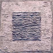 "Carey Corea, (NY),  ""Immolation of Ivory Black"", 16 x 16 in., Encaustic on Cradled Panel"