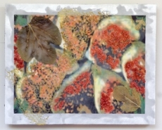 """Diane Destiny, (CA) """"Fig Theory"""", 12 x 15 in., Encaustic on Brushed Aluminum"""