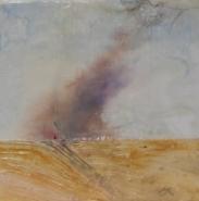 """Lauri Borer, (WA), """"Summer Burn"""",  8 x 8 in.,Encaustic Medium, pigment,pan pastel, plaster, foil on burned encaustic board"""