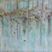 """Kate Palmo, (NM), """"Summer"""", 16 x 16 in., Encaustic on Panel"""