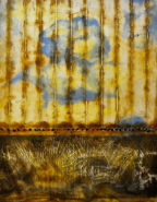 """Dianna Stevens Woolley, (WA), """"Successful Harvest"""", 20 x 16 in., Encaustic, Mixed Media on Panel"""