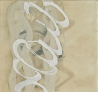 """Judith Williams, (CA), """"Cursive"""", 12 x 12 in., Encaustic"""