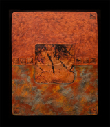 """Kara Young, (NM), """"Earth and Fire Large Sage"""", 32 x 26 in., Wall piece made of handcast paper, cement, joint compound, fired & patinated copper, acrylic paint, encaustic"""