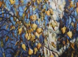 """Karen Frey, (CA), """"Autumn Birch"""", 18 x 24 in,, Encaustic on Birch Panel"""