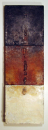 """Sue Katz, (MA), """"Roof Line Three"""", 36 x 12 in., Encaustic on Roofing Shingles on Wood Panels"""