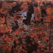 "Roberto Munguia, (TX)  ""Maelstrom"", 12 x 12 in., Encaustic on Panel"