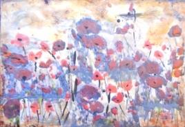 """Karen Pillans, (TN), """"Small Poppy Field"""", 20 x 14 in., Encaustic"""