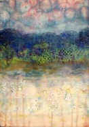 """Caryl St. Ama, (CA), """"Encaustic Landscape Post-Katrina"""", 17 x 11 in., Encaustic on board with fabric and oil paint"""