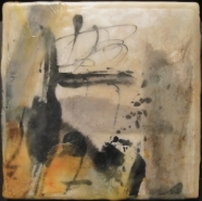 """Kathleen Roman, (IL),  """"Behold!"""", 6 x 6 in., Sumi Ink on Ricepaper, natural and tinted beeswax, oil paint"""
