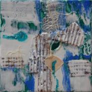 "Trish Foschi,""City Grid in Snow"", 9.5 x 9.5 in., Encaustic Mixed Media"