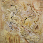 "NJ Weaver, (TX), ""Union"", 22.5 x 22.5 in., Encaustic, Mixed media on Wood Panel"