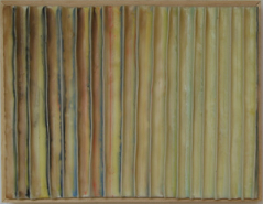 """Paula Busch, (CA), """"Pleated 1"""", 9.5 x 13 in., Wax and Paper"""