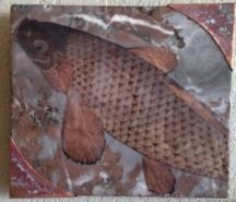 "Claire Cundiff, (WA) ""Koi"", 7 x 8 in., Marble, paper, encaustic medium, copper"