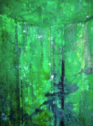 "Jenny Learner, (IL), ""Emerald"", 26 x 20 in., Encaustic"