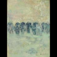 "Maeve Erickson,(IL & MN) ""Elephans Maximus"", 24 x 18 in., Encaustic"