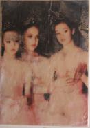 "Theresa Halzle, (WA), ""Three Ballerinas off Stage Left"", 7 x 5 in., Encaustic Medium, Photo Transfer, Tissue paper, Wood Board"