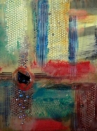 "Yvonne Bujis-Mancuso, (WA), ""Honeycomb"", 19 x 14 in.,Wax medium, glass"