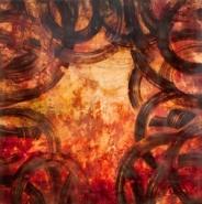 "Shawna Moore, (MT),  ""Tangled Sky"", 36 x 36 in., Encaustic Wax on Wood Panel"