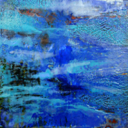 """Joni Gruber,(AL),  """"It Came From the Sea"""",12 x 12 in., Encaustic on Panel"""