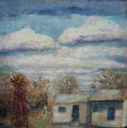 "Helen Horn Musser, (TX), ""Basics; Enemy, Poverty"", 24 x 24 in., Encaustic"